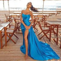 Party Dresses Sexy Blue Strapless Evening Dress Mermaid Long High Side Split Prom Arrival Celebrity Dubai Gowns