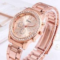 Designer Luxe Merk Horloges Mode Vrouwen Geneva Rhinestone Roestvrij staal Fake Drie ogen Quartz voor Lady Relgio Femino