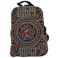 Outdoor Bags Canvas Embroidery Ethnic Backpack Women Handmade Flower Embroidered Bag Travel Schoolbag Backpacks Mochila