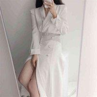 Hzirip Windbreaker Minimalista Escritório Senhora Outwear 2020 Elegante Hot Sólido Magro Nova Qualidade All Match Long Trench Coats