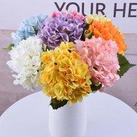 New47cm Hydrangea Artificial Flores Decorativas Cabeça 19cm Falso Silk Single Hydrangeas Reais para Centerpieces de Casamento EWB7053