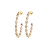 Bridal Jewelry Wholesale Micro Inlay Colorful Zirconia Hoop Earrings South American Wind Style (3pair lot)