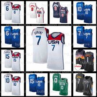 Durant Jersey Kevin Devin 15 Booker Jayson 10 Tatum Damian 6 Lilard Basketball Amerika White Mens USA Home United National 2021 Tokyo Olympiade Sommerstaaten Team