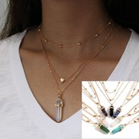 New Boho women's layered necklaces Gold Love Heart Natural stone Crystals Hexagonal prism Bullet Quartz Point Pendant For Fashion wjl2362
