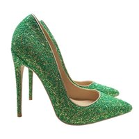 Sexy Fashion Green Sequin Glitter 12cm Thin Heel Women Shoes Bride Wedding Shoes Shallow Mouth Pointed Toes High Heel Slim Heels Lady Banquet Shoes