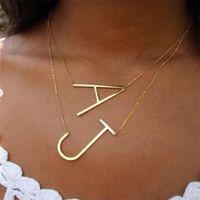 Цепи простые 26 букв кулон ожерелье для женщин Очарование ювелирных изделий A B C D E F G H I J K L M N O P Q R S T U V W X Y Z Большой начальный BFF