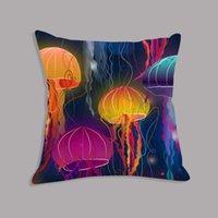 Cushion Decorative Pillow Watercolor Jellyfish Printed Cushion Cover Decorative Velvet Throw Case Pillowcase For Sofa Home Decor