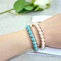 Tennis YGLINE Natural Pumpkin Shape Stone Leather Bracelet Fashionable Wrap Coral Jewelry Wedding Gift Drop