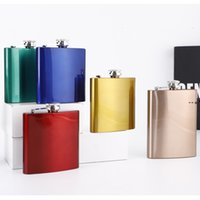 6oz Stainless Steel Hip Flask Wine Pots Mini Square Men Flagons Outdoor Stoups Whisky Stoup Wines Pot Alcohol Bottles SEAWAY NHF10314