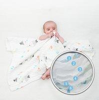 Детские банные полотенца печать мультфильм полотеное полотенце 6 слоев младенческой пешеходной одеяло марлевые хлопчатобумажные новорожденные ткань мягкие суперабсорбентные одеяла WMQ766