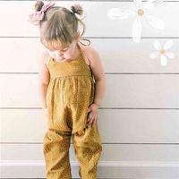 Moda Verão Meninas Romper Bebê Sem Mangas Sling One-Peça Amarelo Pontilhado Moda Floral Macacões Jumpsuits Kids Roupas H423JY3