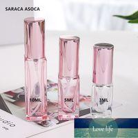 5pcs / lot 3ml 5ml 10 ml de verre carré rose pulvérisation de parfum bouteille de parfum rechargeable bouteille vide épais inférieur rose or automatiseur
