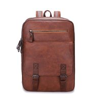 Backpack Waterproof PU Leather Backpacks Men's Retro Casual Business Laptop Shoulder Bags Student Schoolbag Outdoor Fitness Travel