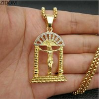 Pendant Necklaces Gold Color Men Hip Hop Door With Jesus Stainless Steel Fashion Vintage Necklace Male Hiphop Jewelry Gift