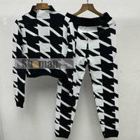 Women's Tracksuits Luxury Designer Knit Two 2 Piece Set Outfits Fall Clothes For Women Houndstooth Cropped Knitted Long Sleeve Sweater Top +
