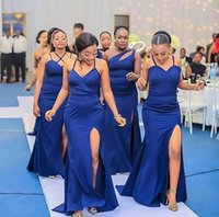 2021 Sexy Royal Blue Bridesmaid Dresses Mermaid Long Satin Difference Neckline Style Side Split Plus Size Wedding Guest Dress Maid of Honor Gowns