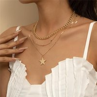 European Five-pointed Star Pendant Necklaces Women Multi Layer Gold Clavicle Chains Alloy Dress Sweater Party Necklace Fashion Jewelry Wholesale
