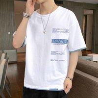 Короткие футболки мужские 2021 летняя половина рукава льда шелковая ткань весенняя футболка влюбленные модный бренд
