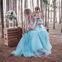 Mother Daughter Photoshoot Evening Dresses Long Tulle Lace Applique Beaded V Neck Formal Prom Gowns Women and Girl Matching Dress