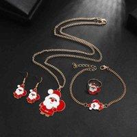 Necklace Set lovely Santa oil alloy ring earring bracelet combination set