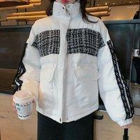 2020 Otoño Invierno Algodón Parkas de gran tamaño Abrigos de gran tamaño y chaquetas para mujer ropa exterior Soporte Collar Plaid Puffer Chaqueta 1