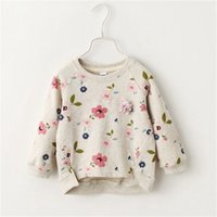 Baby Girls Autumn Printed Floral Sweater Long Sleeved Korean Girls Bottoming Shirt Flowers Round Neck Sweater Kids Tops 210915