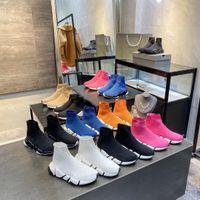 Zapatos casuales de moda de alta calidad para mujeres y mujeres de lujo zapatillas de deporte de la marca de lujo plataforma de plataforma negra de los calcetines del zapato 35-45