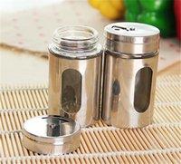 عشب سبايس أدوات 80 ملليلتر الهزازات الجرار تخزين جرة الملح الفلفل شاكر الفولاذ الصلب المعادن مع نافذة المطبخ أداة GWE6282
