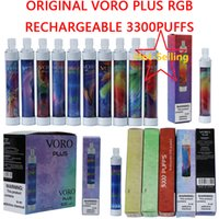 voro 플러스 충전식 일회용 vape 펜 전자 담배 장치 rgb 빛 650mAh 배터리 4.8ml 카트리지 프리 쿼리 3300 Puffs 빛나는 vape