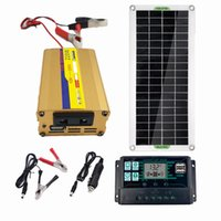 LEORY 220V Solar Power System 30W Panel Battery Charger 220W Inverter USB Kit Complete Controller Home Grid Camp Phone PAD - C