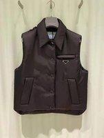Женские куртки Vest Parkas с биржевыми буквами кнопки zippers отрегулируйте пальто без рукавов вершины для леди тонкий теплый пиджак наряд ветровку