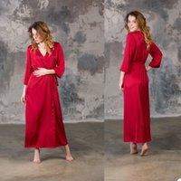 Wraps & Jackets Sexy Red V Neck Long Sleeve Maternity Bathrobes Dresses Women Wedding A Line Satin Skirts For Po Shoot Nightdress