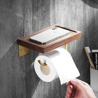 Hooks & Rails Wall Mount Roll Paper Storage Rack,Bathroom Toilet Holder Towel With Phone Shelf Bathroom Accessories
