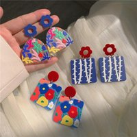 Stud Creative Literary Oil Painting Style Color Flower Earrings Blue Ins Niche Design Sense Acrylic Contrast Female Tide
