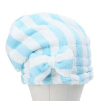 Shower Caps Dry Hair Cap Velvet Bow Knot Microfiber Quick-Drying Striped Princess For Women Bath Accessories Compact Practical