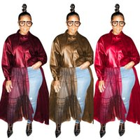 Women's Fur & Faux Qm4337 European And American Autumn Pure Color PU Leather Clothes + Mesh Splicing Top Long Sleeve Coat Spot Supply W