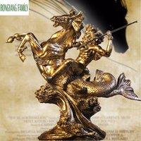 Ancient Greek Poseidon Sculpture European Retro Resin Ornaments Character Warrior Statue Crafts Home Desktop Decoration Figurine