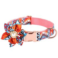 Dog Collars & Leashes With Flower Pet Supplies Nameplate Fashion Decorative ID Tag Party Floral Printed Collar Engraved Walking Adjustable P