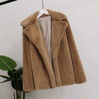 Women's Fur & Faux Women Winter Warm Thick Coat Pure Color Cardigan Lapel Collar Fluffy Female Outwear Coats