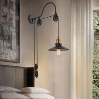 American Loft Pulley Wall Lamp Industrial Style Retro Wrought Bar Aisle Corridor Balcony Hotel Cafe Restaurant Led Pendant Lighting R308