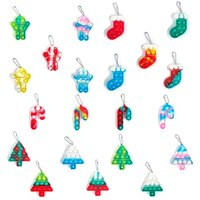 Fidget Toy Push Bubble Christmas rat killing pioneer key chain Christmastree candy stick press Interactive Education desktop puzzle silicone decompression toys