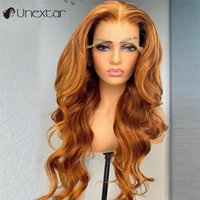 Perruques de dentelle non excessive 13 × 4 Ginger avant Orange Couleur Lâche Vague avec bébé Coiffure Partie libre humaine pour les femmes