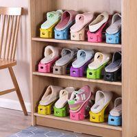 Цвета двухслойных регулируемых простых обуви кронштейн против пыли стойки для хранения Home Организатор стенд Вешалка для одежды Шкаф для одежды