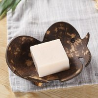 Creative soap dishes retro coconut soap holder natural wooden soap tray holder storage rack plate box container for bathroom DHE9637