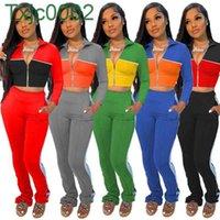 Women Tracksuits Two Piece Set Designer Casual Color Panelled Long Sleeve Zipper Jacket Pants Side Webbing Sportswear Leisure Wear 5 Colours