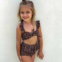 Vieeoease 2 قطع بيكيني مجموعة طفل طفلة ليوبارد طباعة ملابس الاطفال عالية مخصر المايوه بيكيني وتتسابق ملابس السباحة CC-471