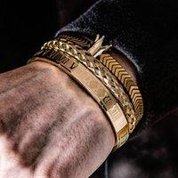 3 unids / set numeral romano brazaletes hombres pulsera hecho a mano acero inoxidable cáñamo cuerda hebilla abierta pulseira bilíklik lujo joyería
