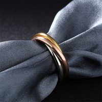 Fashion Classic Creative Three Winding Ring Women's Stainless Steel 3 Color Trinity Rolling Wedding Band Ringsv1 Y1 888 R2