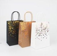 Black Stamping Handbag Wrap Tote Card Bag Fashion Kraft Paper Gift Packaging Green Shopping Bags DWA7045