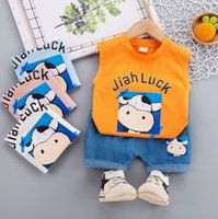 baby Boy Summer Vest clothing Set 2021 Children Clothes kids cow sleevelss vets tops + Denim Shorts 2 Piece casual sports outfits 0S1319